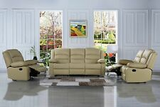 Traditional Recliner Sofa Set - Real Leather - Double Reclining 3 PC Set, Beige
