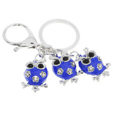 Rhinestone Bling Three Owl Figure Key Chain Key Ring Handbag Car Pendants