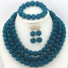 African Wedding Party Costume Jewelry Set,Handmade Crystal Beaded Necklace Sets