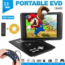13In Portable TV DVD CD Player 270° Rotation LCD USB SD FM Radio Remote Control