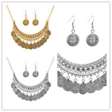 Ladies Gold Plated Crystal Coin Statement Pendant Necklace Earring Jewelry Set