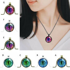 Women Gothic Chain Pendant Necklace Colored Pupil Drop Fashion Gift