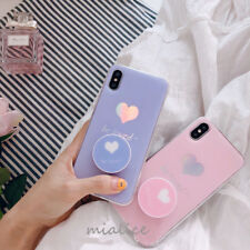 Heart Case With Pop Up Holder Phone for iphone 6 7 8 Plus X Cases Socket Relief
