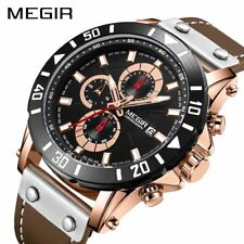 MEGIR Chronograph Sport Mens Watches Top Brand Luxury Leather Quartz Watch Men
