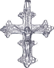 Sterling Silver Crucifix Cross with Jesus Pendant Necklace Diamond Cut and Chain