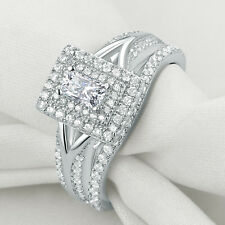 Newshe Wedding Engagement Ring Set Halo Emerald Cut AAA Cz 925 Sterling Silver