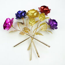 Golden Foil Plated Rose Gift for Mothers Valentine's Day Gold Flower Decor+Box
