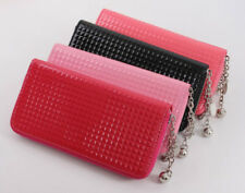 Zipper lattice women leather Wallet pinkycolor coin purse Female Card Holders