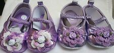 NEW FAUX LEATHER LAVENDER PURPLE SHOES ROSE 3 6 9 12 18 MONTHS GIRLS BABY INFANT