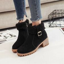 Womens Suede Ankle Chelsea Boots Warm Fur Lined Round Toe Chunky Low Heels Shoes