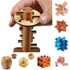 Wooden Intelligence Kongming Lock Game Burr Puzzle Unlock Key Magic Trick Sight