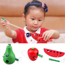 Portable Color Wooden Lacing Game Threading Fruit Toy Kid Early Educational Toy