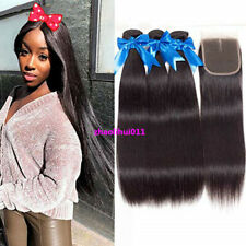 3 Bundles with Closure Unprocessed Brazilian Virgin Human Hair Weave Straight 7A
