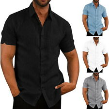 Summer Mens Slim Short Sleeve Button Down Tops Casual Solid Comfort Shirts #@