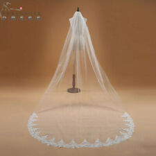 Voile Mariage 3M One Layer Lace Edge White Ivory Cathedral Wedding Veil Long