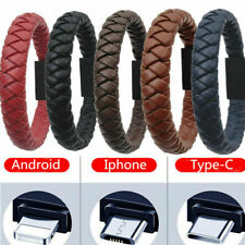 Portable Leather Bracelet Type-C/8Pin/Micro USB Charger Charging Cable Sync Cord