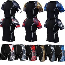 New Mens Compression Shirts Gym Workout Running Shorts Tight fit Printed Dri-fit
