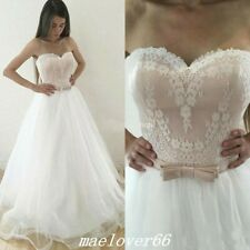 Sweetheart Lace Tulle Bohemian Beach Wedding Dresses with Bow Boho Bridal Gowns