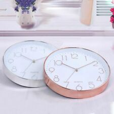 Modern Wall Clock,12 Inch Large Decorative Universal Silent Indoor Quartz F6D5