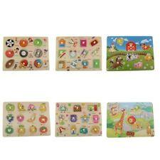 Kids Toddler Jigsaw Puzzle Baby Developmental Wooden Game Toys -Multi-style