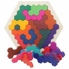 Wooden Brain Teasers 14Pcs Hexagon Geometry Logic Puzzle IQ Game Educational Toy