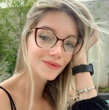 Fearless Women Eyeglasses Sexy Cat's Eye Clear Lens Metal Fashion clear Glasses