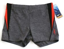 Speedo Gray & Red Fitness Splice Square Leg Jammer Swimsuit Men's NWT