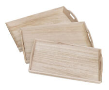 Serving Tray Wood Rectangular Natural Trays Kitchen Tray with Handle Tray