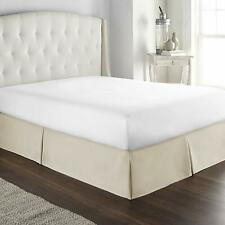 Hotel Luxury Box Pleated Bed Skirt Tailored Drop 100% Cotton Dust Ruffle Ivory