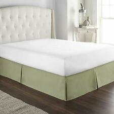 Hotel Luxury Box Pleated Bed Skirt Tailored Drop 100% Cotton Dust Ruffle Sage