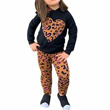 Cute winter kids-clothes for girls Leopard Hoodie T-Shirt Top + Pants toddler