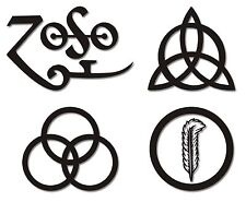 "4 PIECE ZOSO "" Led Zeppelin "" Decal Sticker Set - Choose Size & Color *FREE SHIP"