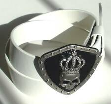 MEN WOMAN WHITE SNAP ON BELT WITH KING BUCKLE S M L XL