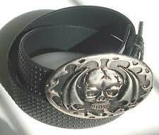 MEN WOMAN STUDDED BLACK SNAP ON BELT WITH WING BUCKLE