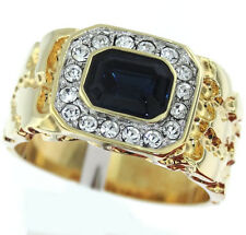 Mens Simulated Sapphire Blue 18kt Gold Plated Tutone Ring With Clear Crystal St.