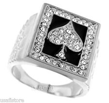 Mens Ace Of Spades Rhodium Plated Poker Ring New