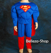 Muscle Superman Superhero Kid Costume Cosplay HALLOWEEN Party Size 2T-7 FC006B