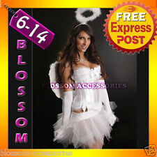 1121 White Angel Corset Tutu Skirt Costume + Wings S-XL