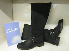 Clarks Orinoco Jazz Black Leather Casual Long Boots D Fitting