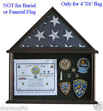 Solid Wood Shadow Box for 4' X 6' American Flag Folded, Glass Front: FC12-