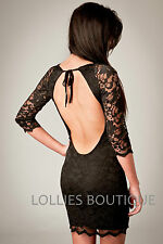 John Zack Black Backless Stretch Lace Bodycon Fitted Mini Dress New Sizes 6 - 14
