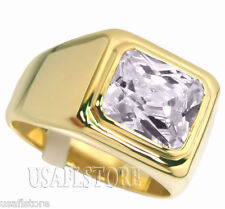 Mens Simulated Diamond Solitaire 18kt Gold Plated Ring