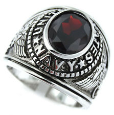 Red Garnet Stone US Navy Military Silver Rhodium EP Mens Ring Size 8-9 & 12-13