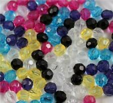 150X 8MM 200X 6MM FACETED ROUND ACRYLIC BEADS 9 COLOURS