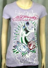 Ed Hardy Posterized Panther and Roses crew neck tunic T-shirt Purple