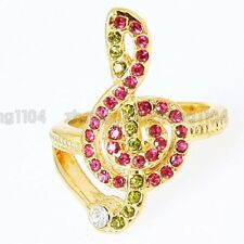 Pink Crystal Music Match Women Ring A14 Free Shipping