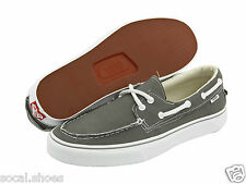 VANS Men's / Women's Boat Shoes ZAPATO DEL BARCO Pewter Gray / Grey White NEW