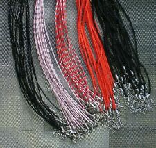 10 Black Leather Necklace Cords 2mm Thick,  Black or Red Silk - 3-4 Day USA!
