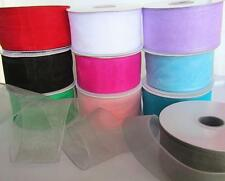 "25 yards Spool Sheer Organza 3/8,7/8,1.5"" Ribbon Supply US Seller OR-Roll Color"