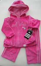 ADIDAS NWT Girls Track Suit Jacket Top Shirt Pants VELOUR Warm Up Hoodie 12 12m